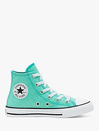 Converse Children's Chuck Taylor All Star Coated Glitter Hi-Top Trainers, Rapid Teal
