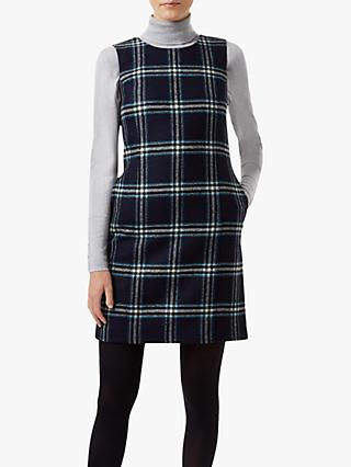 Hobbs Robbie Check Wool Dress, Navy/Multi