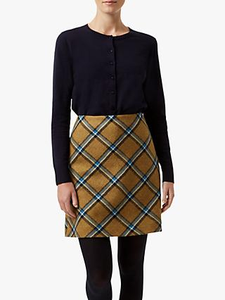 Hobbs Elea Check Wool Mini Skirt, Mustard/Multi