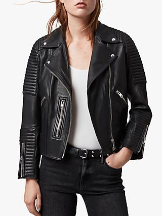 AllSaints Estella Leather Biker Jacket, Black
