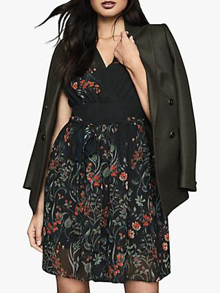 Reiss Sadie Floral Tie Back Mini Dress, Black