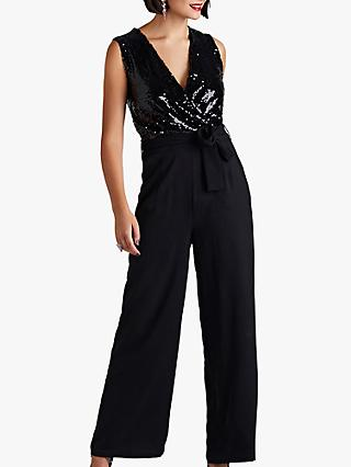 Yumi Sequin Body Jumpsuit, Black
