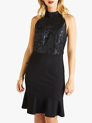 Yumi Halter Neck Lace Dress, Black