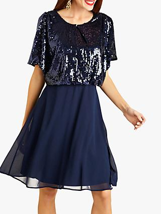 Yumi Sequin Kimono Party Dress, Navy