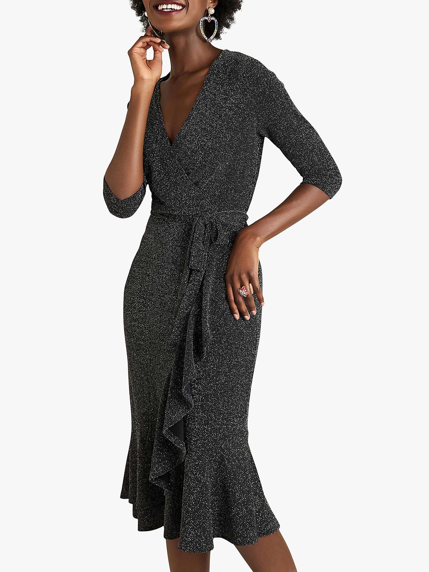 Yumi Lurex Wrap Dress With Frill Detail, Black by John Lewis
