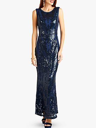 Yumi Embellished Sequin Maxi Dress, Navy