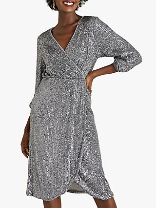 Yumi Sequin Wrap Dress, Grey