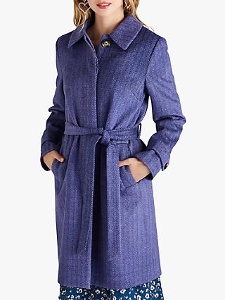 Yumi Herringbone Pattern Tie Coat, Navy