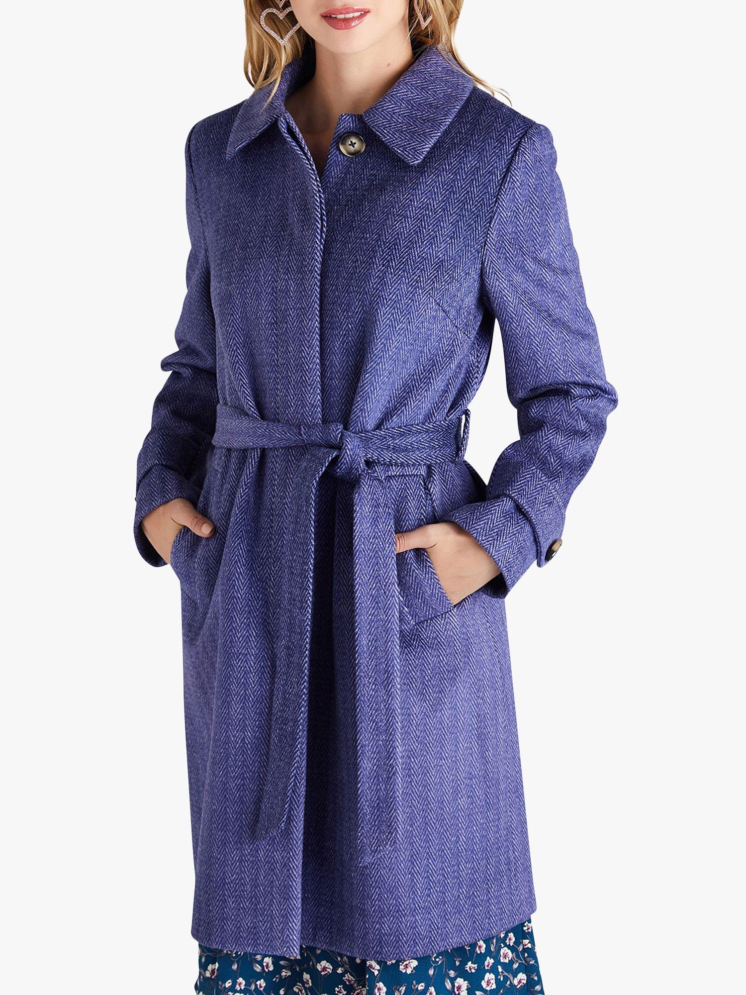 Yumi Yumi Herringbone Pattern Tie Coat, Navy
