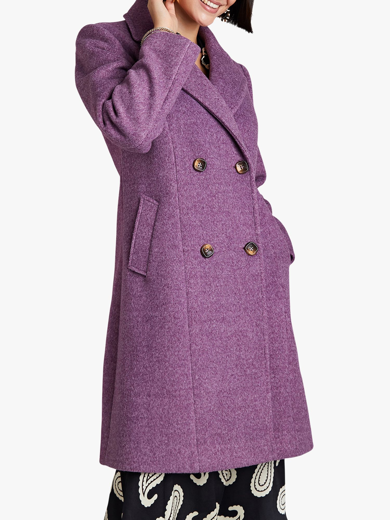 Yumi Yumi Crombie Coat with Button Detail, Plum