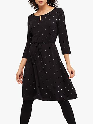 White Stuff Ditsy Spot Jersey Dress, Charcoal