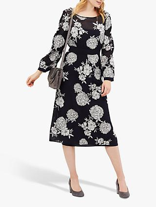 White Stuff Lily Embroidered Dress, Navy