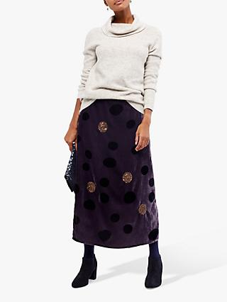 White Stuff Penny Spot Print Velvet Midi Skirt, Dewberry