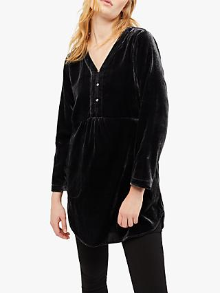 White Stuff Anais Velvet Tunic Top, Charcoal