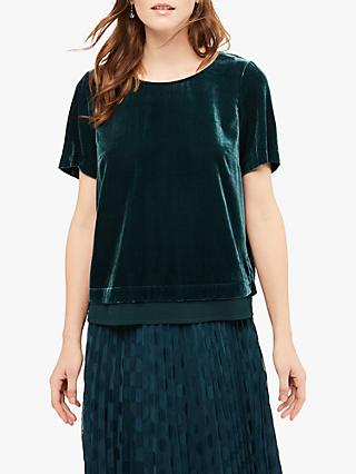 White Stuff Posey Velvet Top, Green
