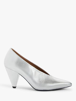 Kin Ansa Leather Cone Heel Court Shoes, Silver