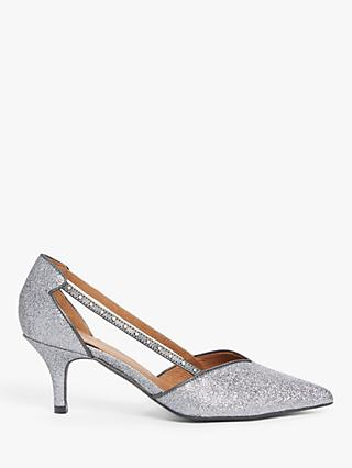 AND/OR Christia Glitter Kitten Heel Court Shoes, Silver