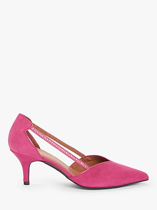 AND/OR Christia Suede Kitten Heel Court Shoes, Pink