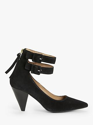 AND/OR Alona Suede Double Strap Court Shoes, Black