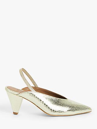 AND/OR Ava Leather Slingback Court Shoes, Gold