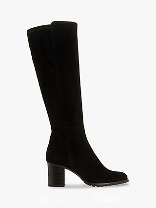 Dune Titaneum Suede Knee High Boots, Black