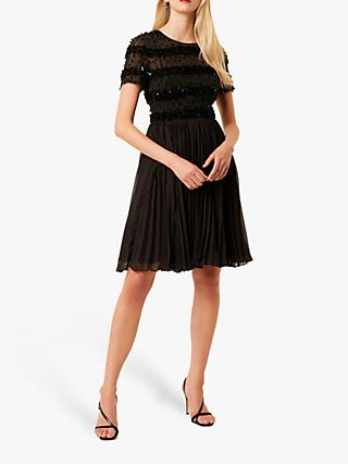 French Connection Pleated Dress, Black