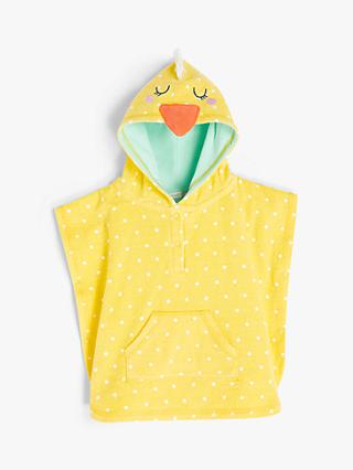 John Lewis & Partners Baby Chick Towelling Poncho, Light Yellow