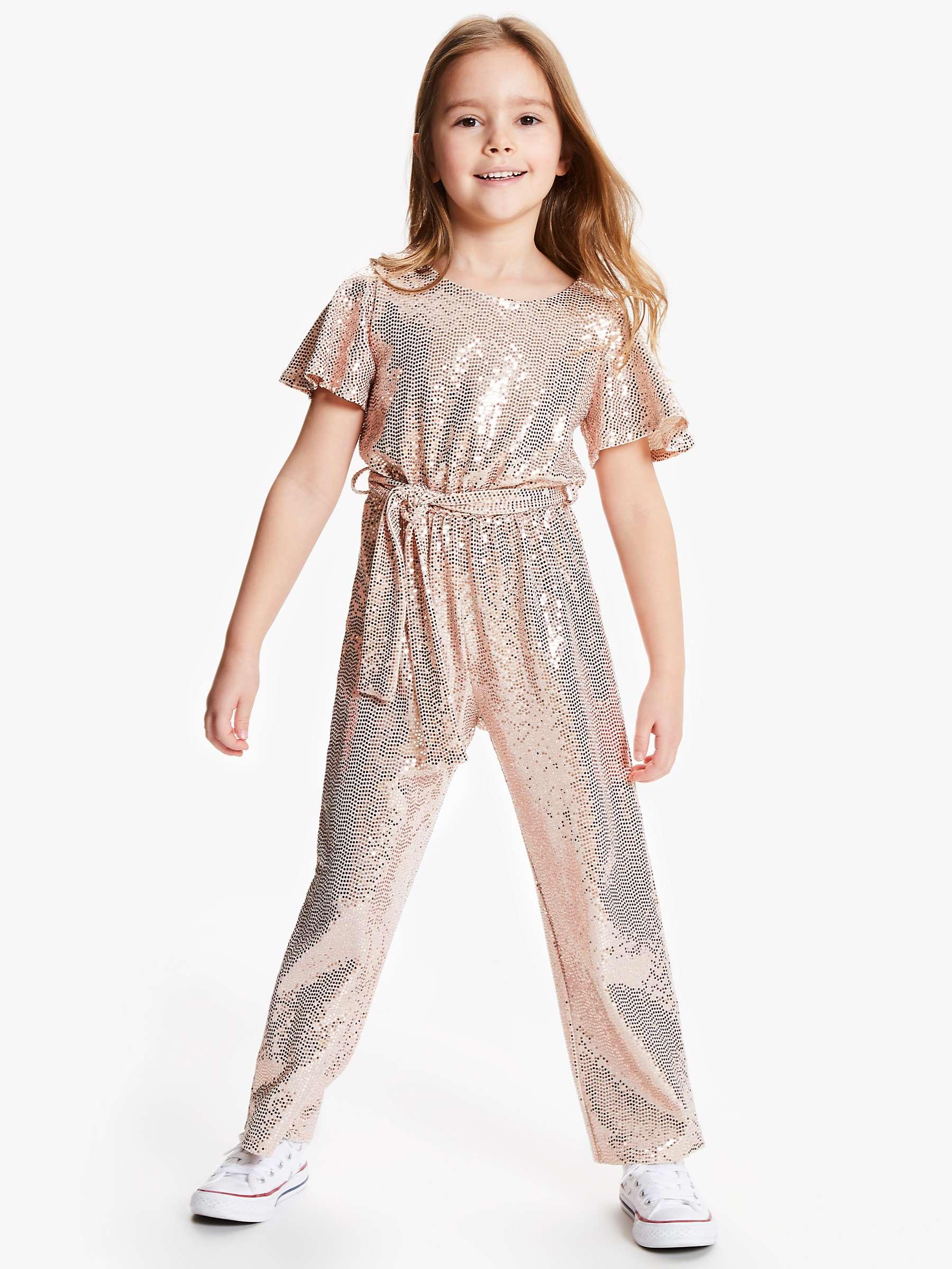 John Lewis & Partners Girls' Sequin Spot Jumpsuit, Rose at John Lewis &  Partners