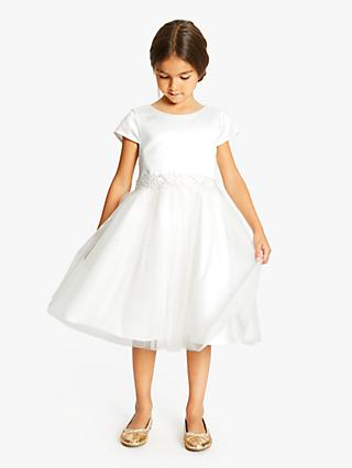 John Lewis & Partners Girls' Sequin Belted Bridesmaid Dress, White