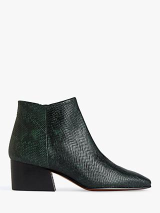 Jigsaw Dapper Block Heel Leather Ankle Boots, Green