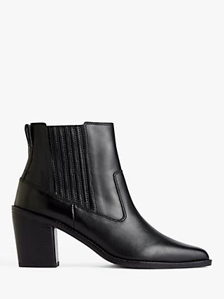 Jigsaw Adrienne Leather Ankle Boots, Black