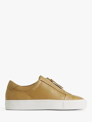 Jigsaw Lenni Leather Zip Front Trainers, Camel