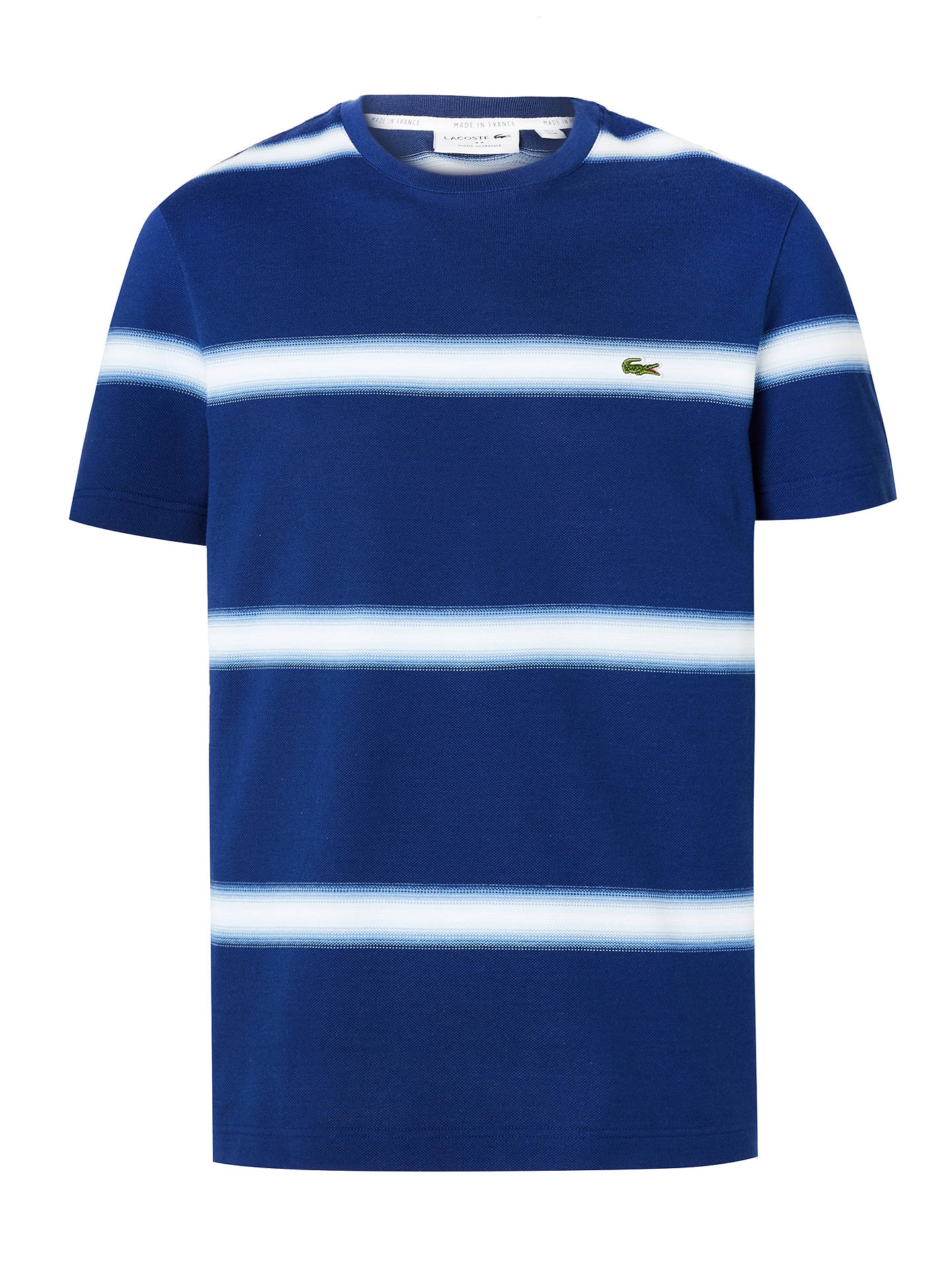Lacoste White /& Navy Striped Crew Neck T-Shirt