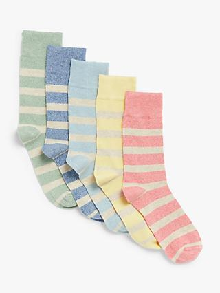John Lewis & Partners Organic Cotton Rich Twisted Rugby Stripe Socks, Pack of 5, Green/Blue/Light Blue/Yellow/Pink