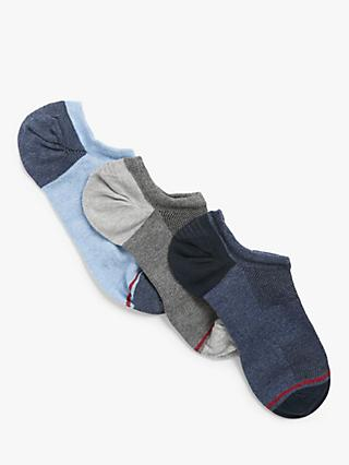 John Lewis & Partners Organic Cotton Rich No Show Trainer Socks, Pack of 3, Blues