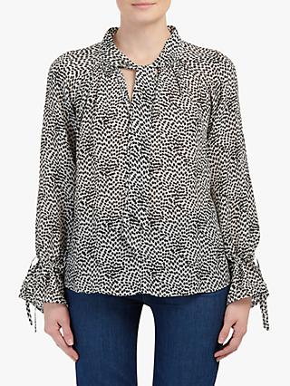 Pyrus Anais Geo Animal Print Tie Neck Blouse, Black/Cream