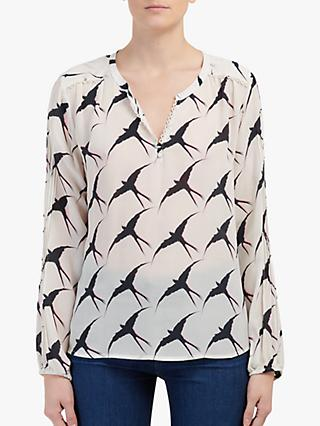 Pyrus Julia Bird Print Lace Trim Silk Blouse, White/Pink