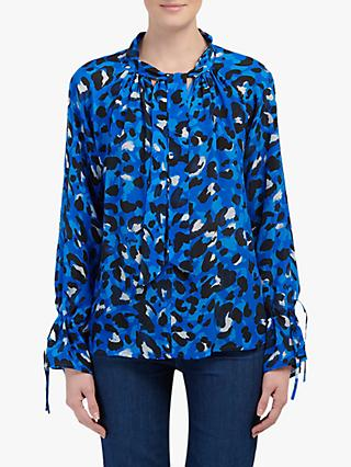Pyrus Anais Animal Electric Print Tie Neck Blouse, Black/Multi
