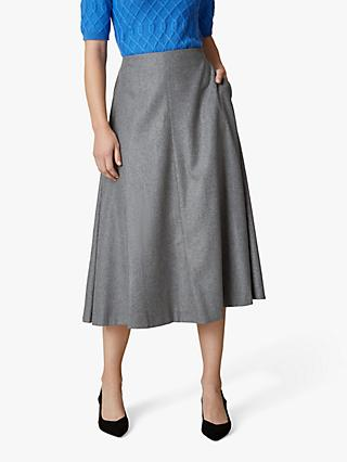 Jaeger Flared Flannel Skirt, Grey