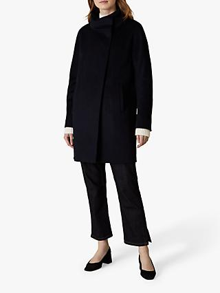 Jaeger Funnel Neck Wool Coat, Navy