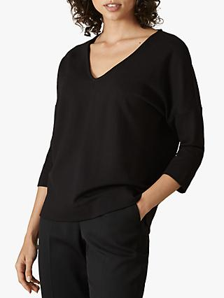 Jaeger V-Neck Batwing Cotton Top, Black