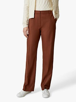 Jaeger Straight Leg Flannel Trousers, Rust