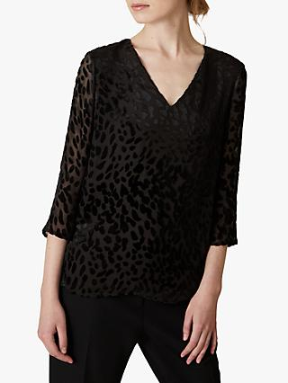 Jaeger Animal Burnout Blouse, Black