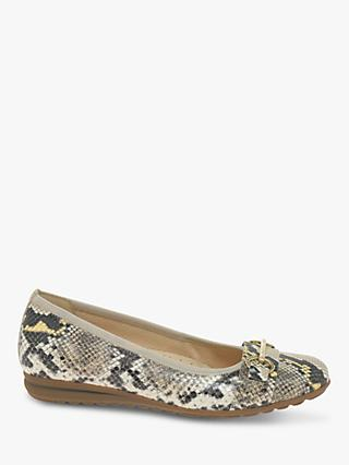 Gabor Salma Wide Fit Leather Gold Trim Loafers, Sand