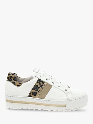 Gabor Hawk Wide Fit Leather Leopard Print Trainers, White
