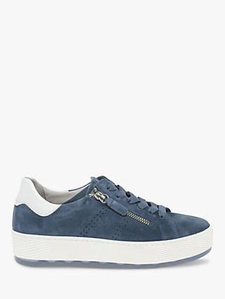Gabor Quench Wide Fit Suede Trainers, Navy/White