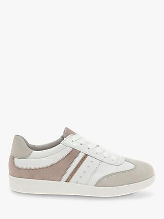 Gabor Tempo Leather Lace Up Trainers, Rosa/White
