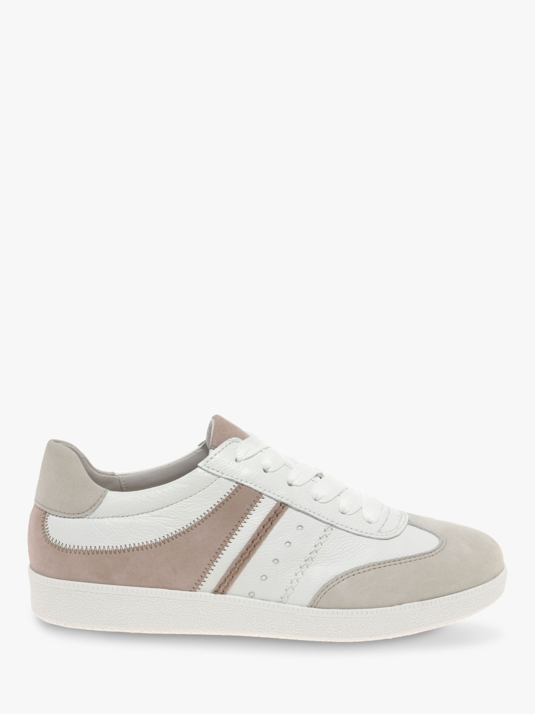 Gabor Gabor Tempo Leather Lace Up Trainers, Rosa/White