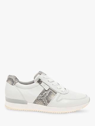 Gabor Lulea Leather Zip Trainers, White/Snake
