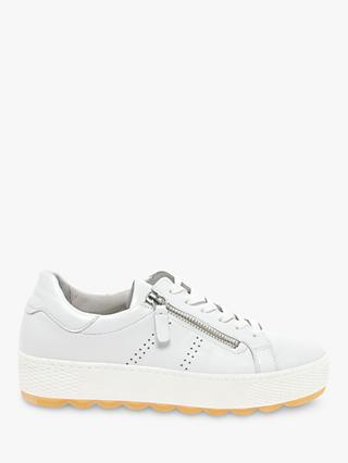 Gabor Quench Wide Fit Leather Trainers, Weiss